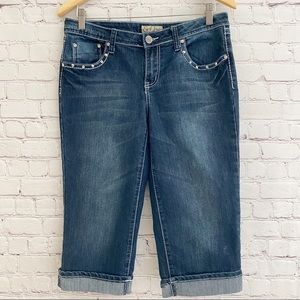 Earl Jeans Capri Roll Cuff Pants Bling Pockets